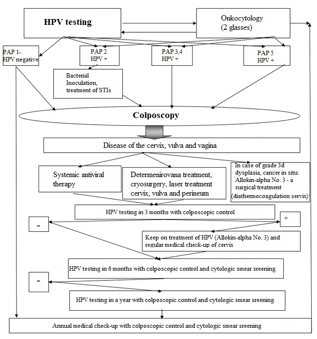 The block-diagram shows how to make a decision in patients with abnormal cytological smear and positive test for HPV infection.